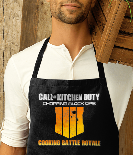 Call of Kitchen Duty Chopping Block Ops - Black Printed Apron